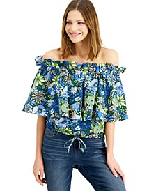 INC Cotton Ruffled Off-The-Shoulder Top, Created for Macy's