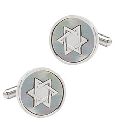 Men's Star of David Mother of Pearl Stainless Steel Cufflinks