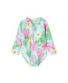 Baby Girls Tropical 1 piece Long Sleeve Rashguard