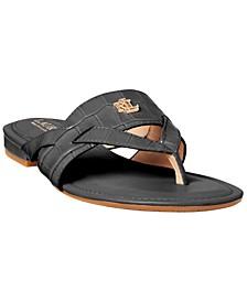 Women's Rosalind Croc-Embossed Thong Sandals