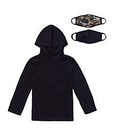 Little Boys Long Sleeve Solid Hoodie with Matching Face Mask