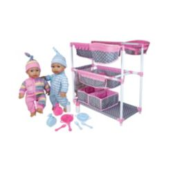 Lissi Dolls Baby Care Center for Twins with 2 Toy Baby Dolls and Feeding Accessories