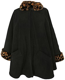 Fleece Cape With Faux-Fur Trim