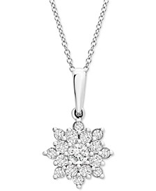 "Diamond Cluster 20"" Pendant Necklace (1/2 ct. t.w.) in Platinum, Created for Macy's"