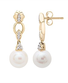 Cultured Freshwater Pearl (7mm) and Diamond Accent Earrings in 14k Yellow Gold
