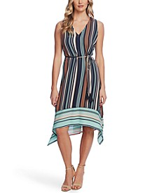 Women's Asymmetrical Hem Stripe Sleeveless Tie Waist Dress
