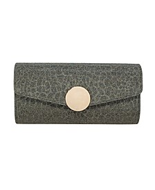 Metallic Animal Print Sparkle Jacquard Flap Clutch