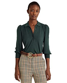 Buttoned Puffed Sleeve Top