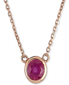 "Ruby Bezel 18"" Pendant Necklace (5/8 ct. t.w.) in 10k Rose Gold (Also in Emerald & Sapphire)"