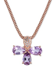 "Amethyst (1-3/4 ct. t.w.) & White Topaz (1/8 ct. t.w.) in 14k Rose Gold-Plated Sterling Silver, 17"" + 1"" extender"
