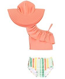 Baby Girls One Shoulder Bikini Swim Hat Set