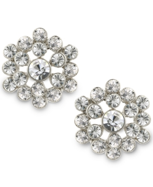 Vintage Style Jewelry, Retro Jewelry 2028 Silver-Tone Crystal Cluster Button Earrings $26.00 AT vintagedancer.com