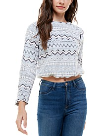 Juniors' Zig-Zag Pullover Top