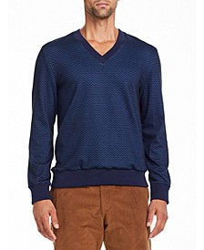 Tallia Men's Slim Fit Navy Zigzag V Neck Sweater and a Free Face Mask With Purchase