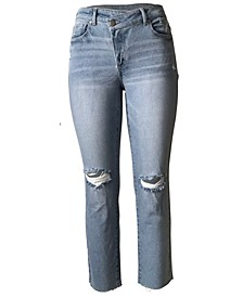Juniors' Ripped Asymmetrical Straight-Leg Jeans