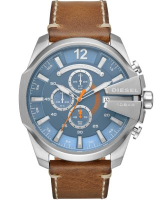Mega Chief Chronograph Brown Leather Watch 51mm