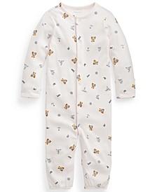 Ralph Lauren Baby Girls Polo Bear Cotton Coverall