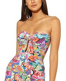 Knot-Front Printed Bandeau Underwire Tankini Top