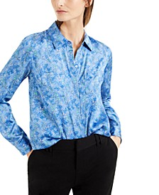 INC Satin Floral-Print Blouse, Created for Macy's