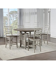 Abacus Drop Leaf Dining 5-Pc set ( Drop Leaf Counter Height Table + 4 Side Chairs)