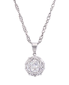 "Cubic Zirconia Millennial Ball Pendant Necklace 16"" in Fine Silver Plate"