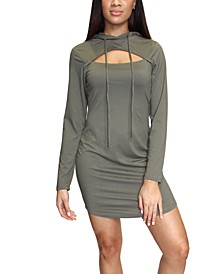 Juniors' Cutout Hoodie Dress