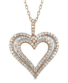 Diamond Baguette Heart Adjustable Pendant Necklace (1 ct. t.w.) in 14k Rose Gold