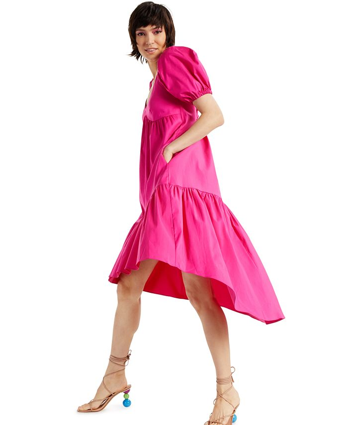 INC International Concepts - Puff-Sleeved High-Low Dress