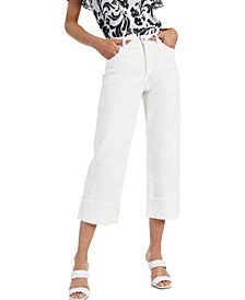 INC Cuffed Cropped Wide-Leg Jeans, Created for Macy's
