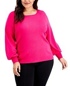 Plus Size Balloon-Sleeve Sweater