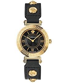 Women's Swiss Black Leather Strap Watch 35mm