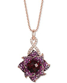"Multi-Gemstone (6-7/8 ct. t.w.) & Nude Diamond (1/4 ct. t.w.) Flower 18"" Pendant Necklace in 14k Rose Gold"