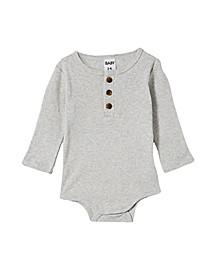 Baby Girls The Long Sleeve Placket Bubbysuit