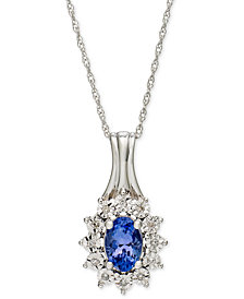Tanzanite (1/2 ct. t.w.) and Diamond Accent Pendant Necklace in 10k White Gold