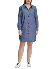 Plus Size Cotton Chambray Shirtdress