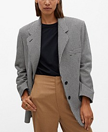 Women's Oversize Houndstooth Wool-Blend