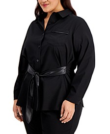 Plus Size Belted Shirt