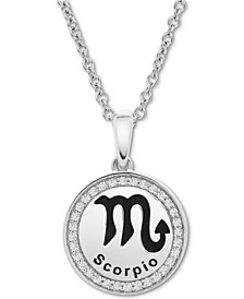 Diamond Scorpio Zodiac Pendant Necklace (1/10 ct. t.w.) in Sterling Silver