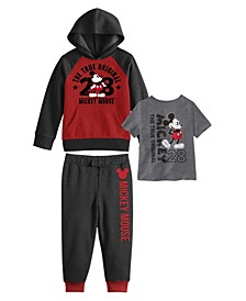 Little Boys Mickey Mouse Hoodie with T-shirt and Fleece Pant Set, 3 Piece