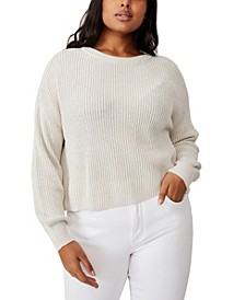 Trendy Plus Size Crop Pullover Sweater