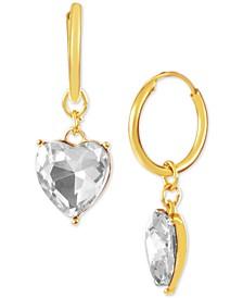 Gold-Tone Crystal Heart Charm Huggie Hoop Earrings