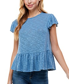 Juniors' Peplum Hem Top