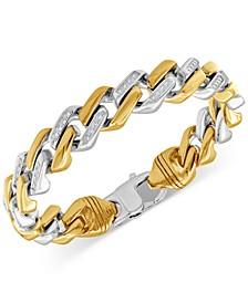 Men's Cubic Zirconia Link Bracelet in Stainless Steel & Yellow Ion-Plate