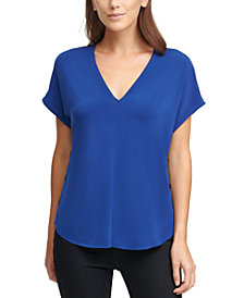 DKNY V-Neck Side-Snap Top