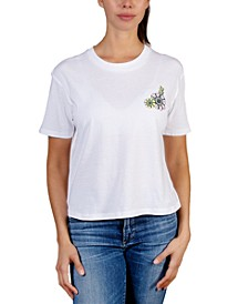 Juniors' Flower Back Graphic T-Shirt