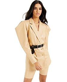CULPOS X INC Exaggerated-Sleeve Faux-Leather Blazer, Created for Macy's