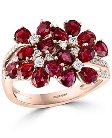 EFFY® Ruby (3-3/4 ct. t.w.) & Diamond (1/4 ct. t.w.) Flower Statement Ring in 14k Rose Gold