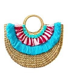 Women's Straw Half Circle Tote Bag