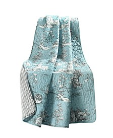 French Country Toile Cotton Reversible Throw Blanket