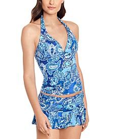 Paisley-Print Molded Cup Halter Tankini Top & Skirted Hipster Bikini Bottoms